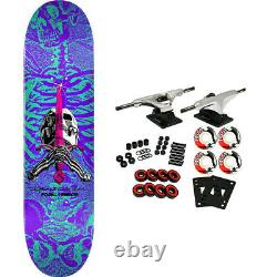 Powell Peralta Skateboard Complete Skull and Sword Turquoise/Purple 8.25 x 31