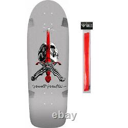 Powell Peralta Skateboard Deck Skull and Sword Silver + Red Rails